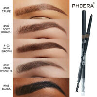 PHOERA 2in1 Drawing Eye Brow Eyeliner Waterproof Eyebrow Pen Pencil + Brush HOT