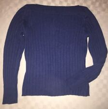 NWT Banana Republic Women's Sweater Chunky Ribbed Boat neck blue L