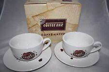 Coffee Spot 4 tlg. Caffe Latte Set Könitz Porzellan 2 Tassen + 2 Untertassen NEU