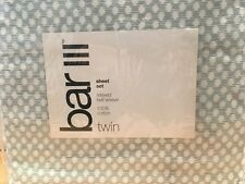 Bar III Relaxed Twill Weave Twin Sheet Set Etched Dot  Green/White- NIP