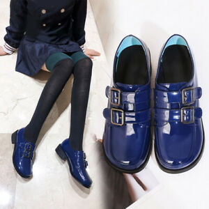 Women's Patent Leather Shoes Round Toe Buckle Oxfords Flats Lolita Shoes Cosplay