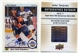 JOHN TAVARES 2010-11 UPPER DECK BUYBACK AUTOGRAPH CARD 11/24 MADE WITH COA