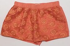 Blu Pepper Embroidered Overlay Shorts Sz L Orange Pull On Flat Front Casual