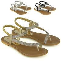 Womens Slingback Strappy Sandals Ladies Flat Sparkly Diamante Shoes Toe Post 3-9