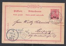 GERMAN OFFICES IN TURKEY 1901 20 PARA PS CARD CONSTANTINOPLE TO LEIPZIG