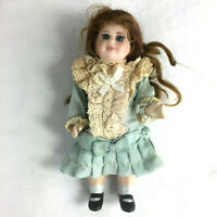 "Antique reproduction mignonette doll 5"" bisque composition mohair silk dress J"