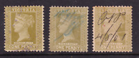 "VICTORIA SCARCE 1901 1D OLIVE QV ""STAMP DUTY"" X3 USED SG 358 (BP45.2)"