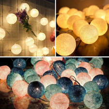 UK Mains Plug In 3M Home Lights String Fairy 20 Mix Colour LED Cotton Globe Ball