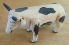 Vintage Carved and Painted Folk Art Wooden Cow