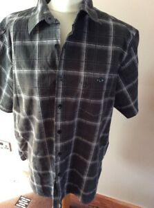 George Black Check short sleeves Shirt 100% cotton Size Large Used