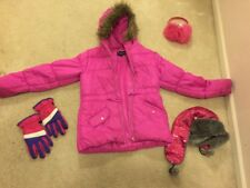Rothschild Pink Winter Puffer Coat HAT EARMUFFS & Gloves, Girls Size 16 EUC