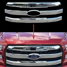 2015 16 17 Ford F150 CHROME Snap On Grille Overlay Front Grill 3 Bar Trim Covers
