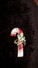 Vintage Don-Lin Enamel Christmas Rhinestone Candy Cane Signed Pin Free Shipping