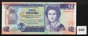 $1 World Banknotes (846) Belize, Pick-52b   $2   1991    UNC