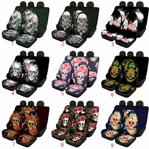 Cool Skull Car Front & Rear Seat Covers Full Set for Women Men Auto Accessories