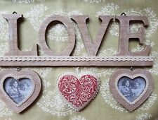 Wooden LOVE Wall plaque Hanging Sign 3 hearts 34x11cms.Country style
