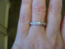 Pave DIAMOND .60 ct Wedding Anniversary Band Ring Guard 14K WG New 2 Available