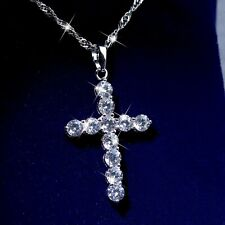 18K WHITE GOLD GP CLEAR ROUND CRYSTAL CROSS CLASSIC PENDANT LINK CHAIN NECKLACE