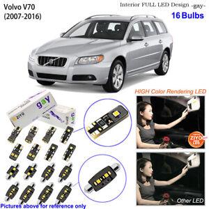 16 Bulbs Deluxe LED Interior Dome Light Kit Xenon White For 2007-2016 Volvo V70