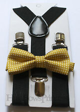 Lot Kids Boys Baby Set,black Suspenders,mustard gold bow tie 6months-5T,wedding