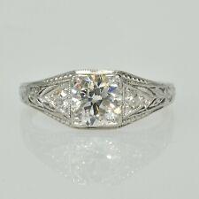 Filigree Right Hand Band Estate Ring Antique Platinum 3/4Ct Diamond Art Deco