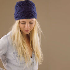 Navy Blue Wool Thick Wide Knitted Headband Hair Band Stretchy Dreadlocks Wrap
