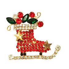 Ice Skate Holiday Pin ~Goldtone~ Kirks Folly Santa's Christmas Crystal