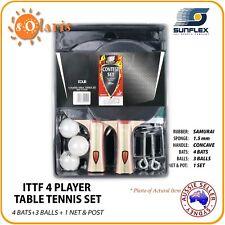 SUNFLEX CONTEST 4 Player Table Tennis Set 4 ITTF Bats+3 Balls+1 Net & Post