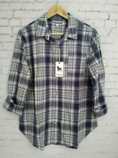 P J Salvage Womens Plaid Flannel Shirt Navy Blue/White Long Sleeves Size:M ~ Nwt
