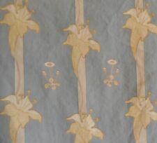 New listing Antique French Art Nouveau Lily Floral Cotton Fabric #2~ Blue Gray~