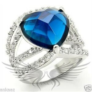 Brilliant Heart Shaped Blue Top Grade Crystal Engagement Fashion Ring 0w277