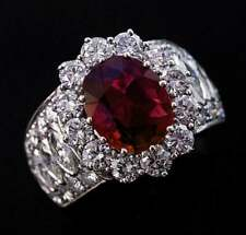 Womens Wide Solid Oval Ruby Sim Diamond Halo Designer Ring 14k White Gold Finish