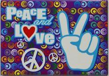 PEACE & LOVE ronds multicolores magnet 7.7x5.5 cm