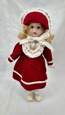 "VINTAGE WILLIAM TUNG COLLECTION HAND CRAFTED VINYL DOLL-""PATTY""-RED VELVET DRESS"