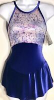 GK ELITE ICE FIGURE SKATE DRESS ADULT MEDIUM VELVET HALTER LYCRA FOIL PRINT AM