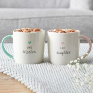 """NEW & BOXED - Cute """"Like Mother Like Daughter"""" Ceramic Mug Set Mothers Day Gift"""
