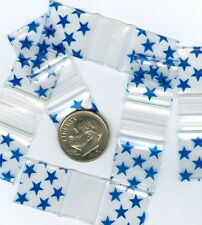 "200 Tiny Blue Stars Baggies 5858 Mini Ziplock Bags 0.63 x 0.63"" Apple reclosable"