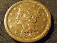 COLLECTIBLE UNITED STATES MINT 1847 BRAIDED HAIR LARGE CENT COIN, Compares to XF