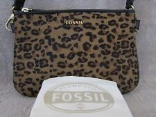 FOSSIL Memoir Top Zip Cheetah Haircalf & Leather Small Purse Clutch Handbag NWT