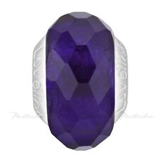 Lovelinks Bead Sterling Silver, Faceted Dark Amethyst Murano Glass Charm TM608