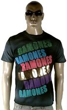 AMPLIFIED RAMONES Rock Star ViP Strass Vintage Negro Blanqueado CAMISETA T-SHIRT