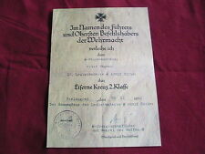 WW11 German Certificate for the Iron Cross Leibstandarte