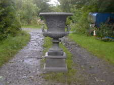 One Single Large Campana Style Garden Urn With Plinth