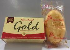 BULK BUY 8X GOLD MYSORE SANDAL SOAP - PURE SANDALWOOD OIL & ALMOND OIL,125 GM