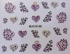 3D Nail Art Sticker Black Gold Pink Leopard Spots & Hearts Glitter Decal 1013