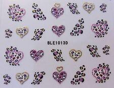 3d Arte De Uñas Etiqueta Negro Oro Rosa Leopardo Spots Y Corazones Glitter Etiqueta 1013