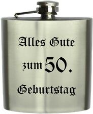 Edelstahl Flachmann mit Lasergravur,Wunschtext, eigene Grafik  Logo Neu GFL12