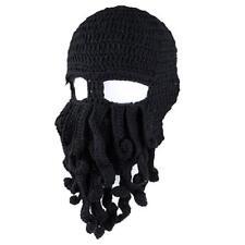 New Mens Kids Black Knit Octopus Beanie Bearded Beanie Cap Hat FREE SHIPPING