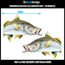 Barramundi Decals x2 32cm Wide Barra Fishing Stickers boat graphics #B019