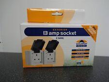Outdoor TWIN 13A Sockets IP54 PER GIARDINO resistente alle intemperie DIY HOME RAINPROOF